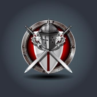 Medieval warrior knight leme com escudo e espadas