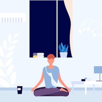 Meditação antes de ir para a cama. descanso noturno, recarga de cérebro.