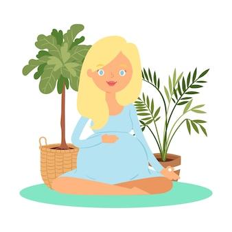 Meditação da mulher grávida, mantenha a calma e relaxe a ilustração de ioga de lótus de equilíbrio zen.