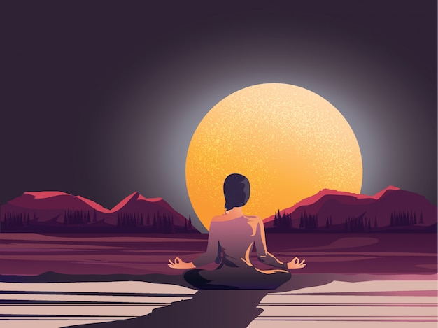 Meditação da noite pela natureza