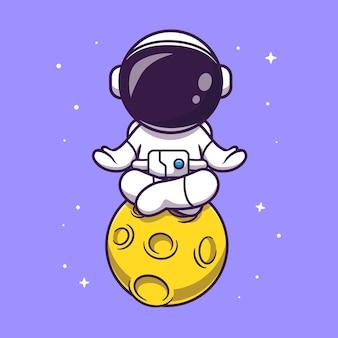 Meditação de astronauta fofo na ilustração da lua