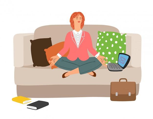 Meditação de descanso da mulher de negócios