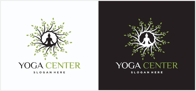 Meditação de homem de design de logotipo de ioga na árvore modelo de design de logotipo de ioga.