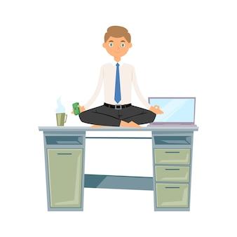 Meditação de homem de negócios, mantenha a calma e relaxe com ilustração de ioga dinheiro zen equilíbrio lótus.