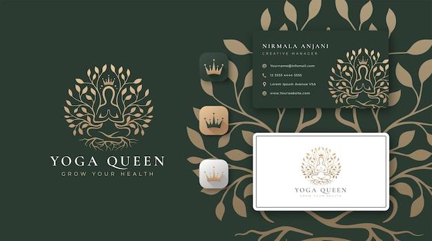 Meditação de ioga com logotipo de árvore abstrata e design de cartão de visita