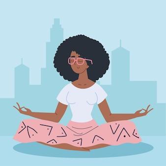 Meditação de mulher afro-americana