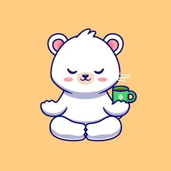 Meditação do urso polar bebê fofo com xícara de café ilustração
