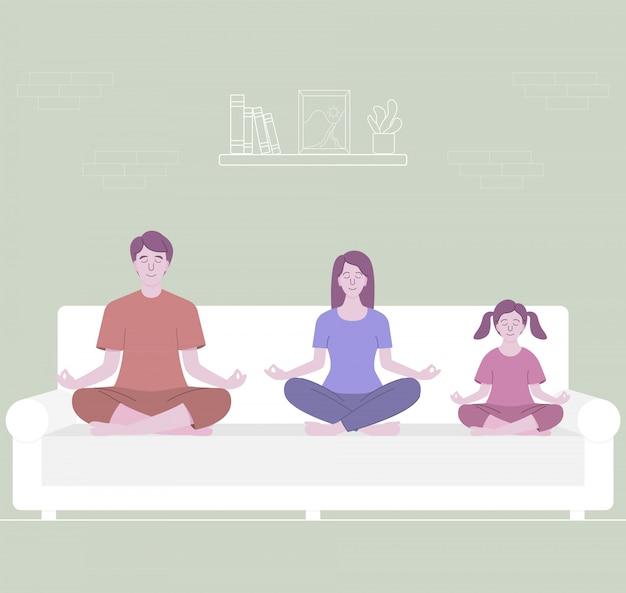 Meditação em família. pais meditando com criança, sentado no sofá branco. design de personagens plana, ilustração.