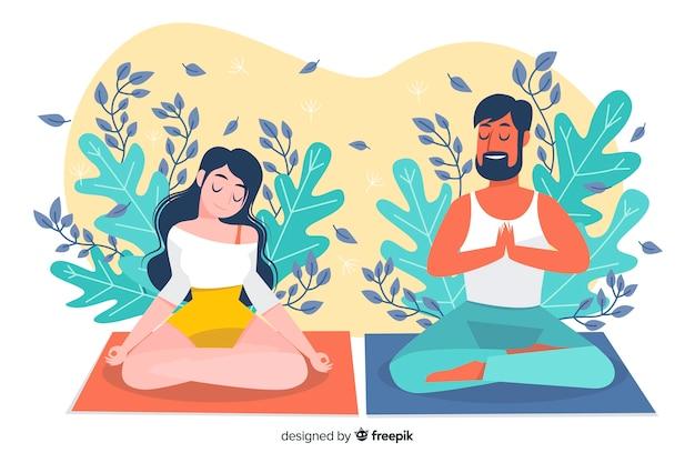 Meditação ilustrada conceito para landing page