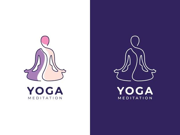 Meditação ioga com pessoas conceito de design de logotipo monoline