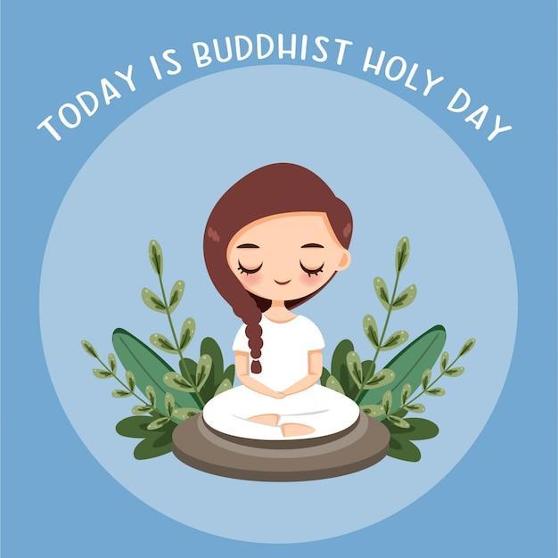 Meditação linda garota para o dia sagrado budista