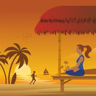 Meditação mulher na praia