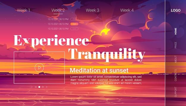 Meditação na página de destino dos desenhos animados do sol, convite para uma experiência de ioga na praia do oceano à noite.