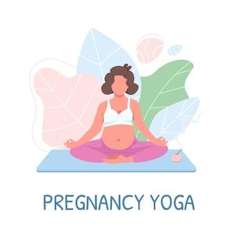 Meditação pré-natal personagem sem rosto cor plana. mãe em roupas esportivas. frase de ioga de gravidez. treinamento para ilustração de desenho animado isolada de mulher grávida para animação e design gráfico da web