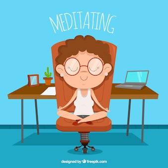 Meditando, conceito, com, executiva