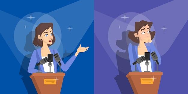 Medo de falar em público. mulher tem medo