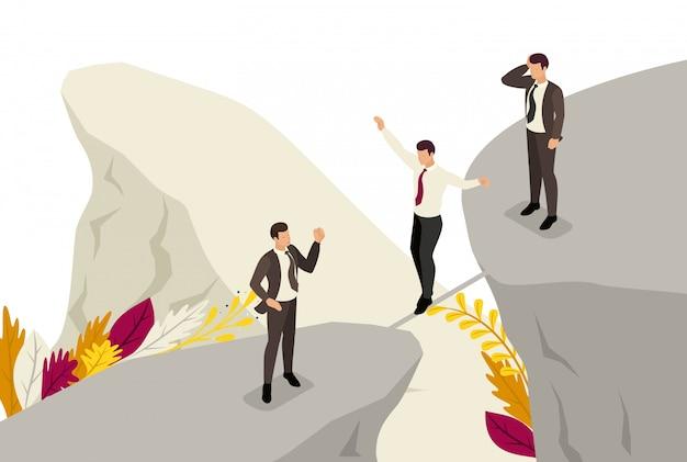 Medo isométrico e superação de riscos nos negócios. conceito de web design
