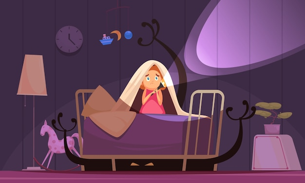 Medos da infância com símbolos de pesadelos e pesadelos