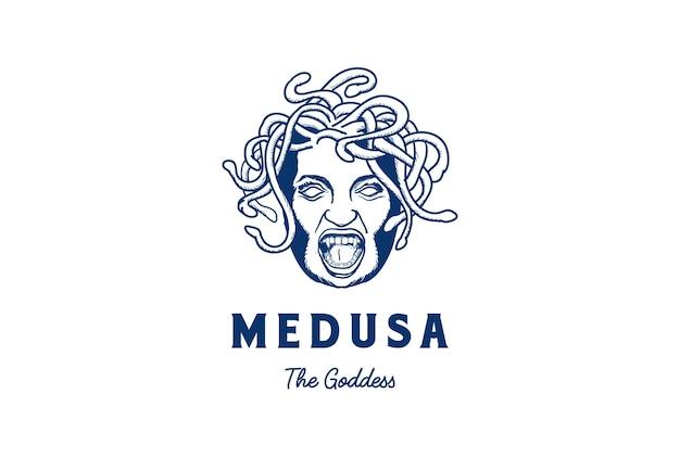 Medusa, a deusa grega, rosto, cabeça com cabelo de cobra, logotipo, desenho vetorial