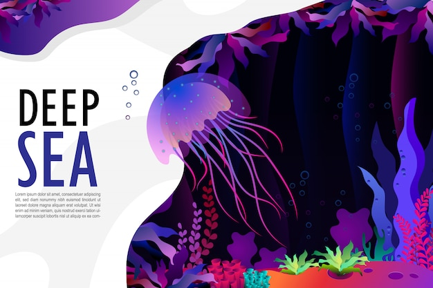 Medusa e coral sob o mar