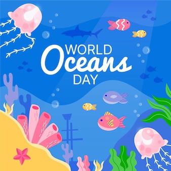 Medusa e peixes do dia mundial dos oceanos