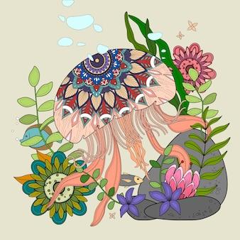 Medusa flutuando no oceano