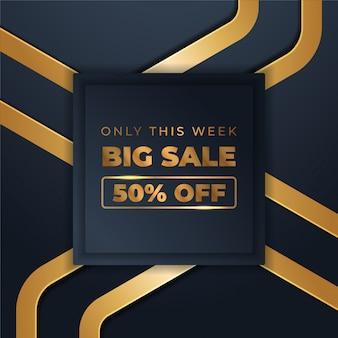 Mega banners de vendas flash com ouro preto para vendas