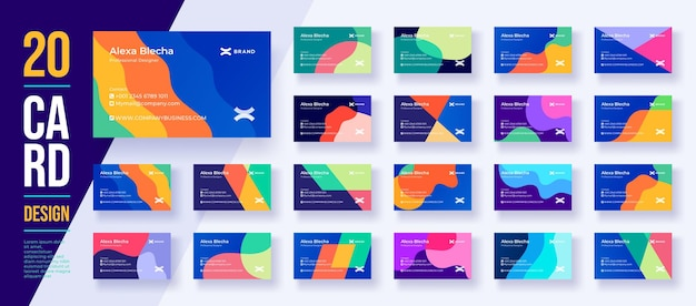 Mega coleção de 20 designs de cartões de visita comerciais ou de identidade com um fundo moderno Vetor Premium