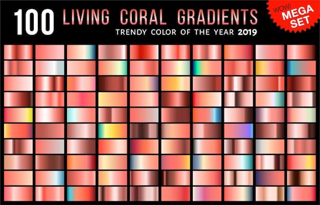 Mega coleção de gradientes coloridos e vibrantes da moda com cor de coral vivo