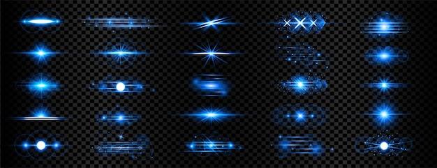 Mega coleção de reflexo de lente azul transparente com efeito de luz