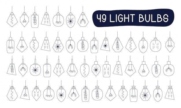 Mega coleção de vetor definido mão desenhada doodles ilustração desenho loft lâmpadas