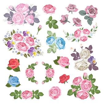 Mega conjunto coleção de rosas diferentes com folhas isoladas