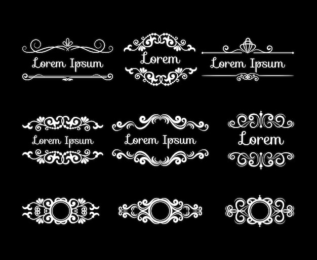 Mega conjunto de designs decorativos com estilo retro branco. molduras de flores