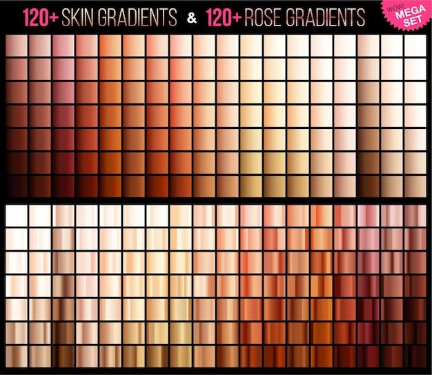 Mega conjunto de gradiente de rosa e pele