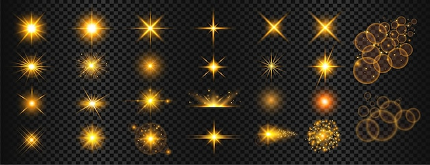 Mega conjunto de reflexos de luz dourada transparente e brilhos
