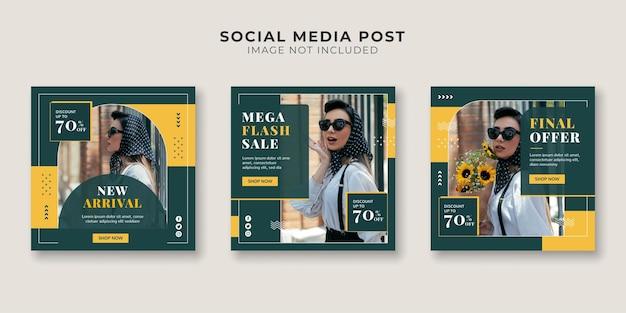 Mega flash venda de mídia social e modelo de postagem no instagram
