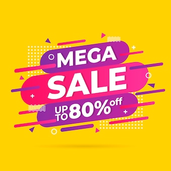 Mega mega promoção banner abstrato