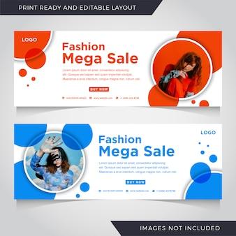 Mega mega venda banner modelo de moda