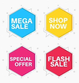 Mega mega venda colorida estilo design plano banner