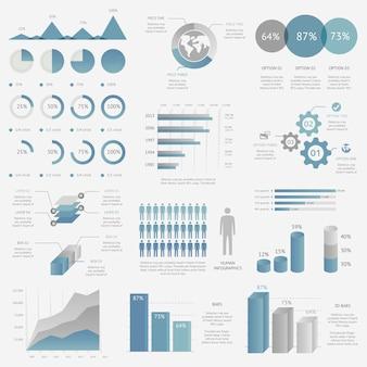 Mega pacote de gráficos infográficos, gráficos, tortas, opções, vetor de elementos
