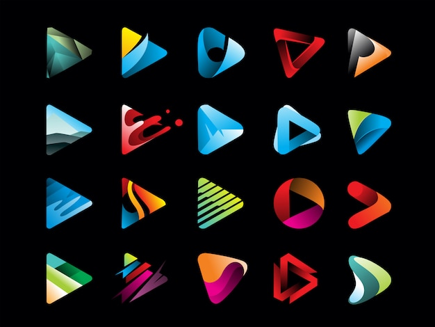 Mega pacote de ícone de botão play gradiente