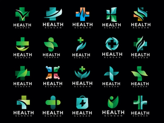 Mega pacote de logotipo médico de saúde