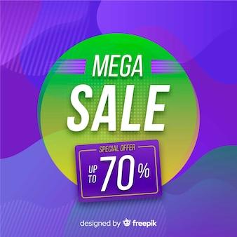 Mega promoção de vendas abstrata em um círculo