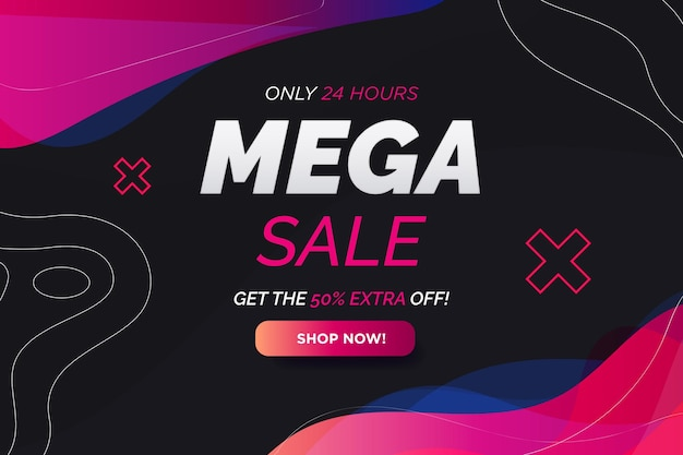 Mega sale background com abstract gradient shapes