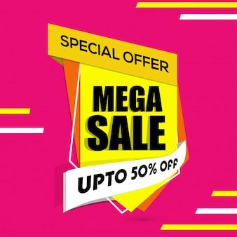 Mega sale banner, sale poster, sale flye