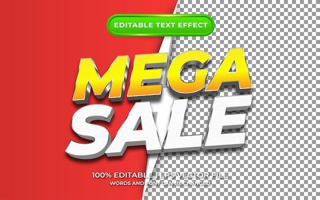 Mega sale com estilo de modelo de efeito de texto editável de fundo transparente