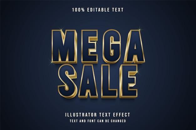 Mega sale, efeito de texto editável em 3d com gradação roxa e estilo de texto com sombra em ouro amarelo