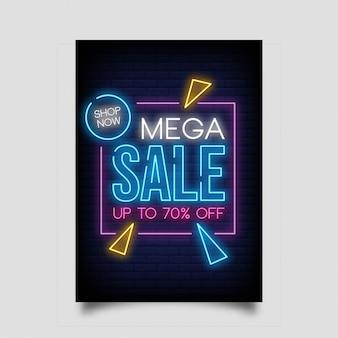 Mega venda até 70% de desconto para banner no estilo neon