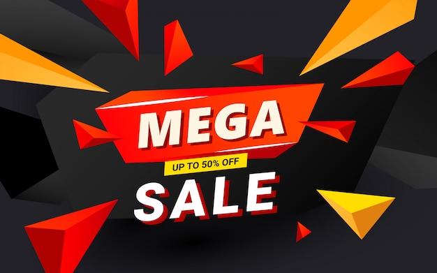 Mega venda banner modelo cabeçalho design modelo de design com formas nítidas poligonais