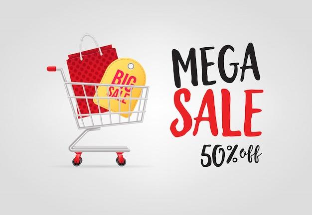 Mega venda, cinquenta por cento de desconto letras com carrinho de compras